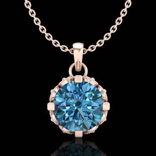 1.14 ctw Fancy Intense Blue Diamond Art Deco Necklace