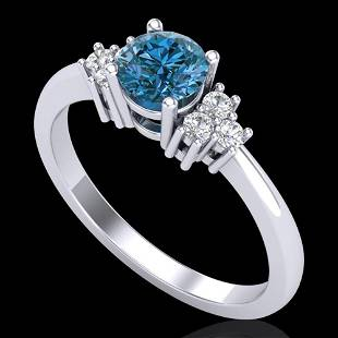 0.75 ctw Fancy Intense Blue Diamond Engagment Ring 18k