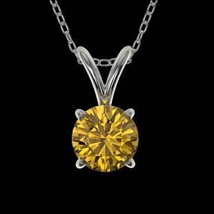 0.53 ctw Certified Intense Yellow Diamond Necklace 10k