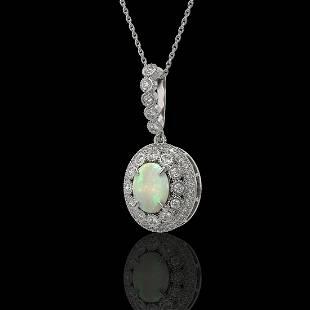 3.9 ctw Certified Opal & Diamond Victorian Necklace 14K
