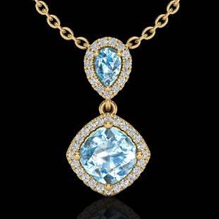 3.50 ctw Sky Blue Topaz & Micro VS/SI Diamond Necklace