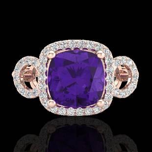 3.75 ctw Amethyst & Micro VS/SI Diamond Certified Ring
