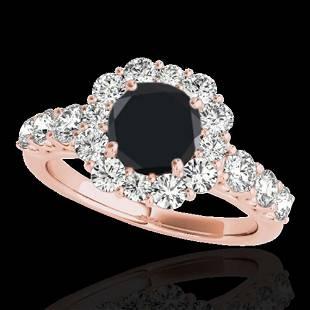 2.9 ctw Certified VS Black Diamond Solitaire Halo Ring