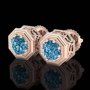1.07 ctw Fancy Intense Blue Diamond Art Deco Earrings