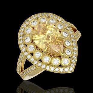 4.12 ctw Canary Citrine & Diamond Victorian Ring 14K