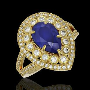 5.12 ctw Certified Sapphire & Diamond Victorian Ring