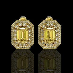 11.03 ctw Canary Citrine & Diamond Victorian Earrings