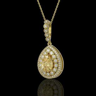 4.17 ctw Canary Citrine & Diamond Victorian Necklace