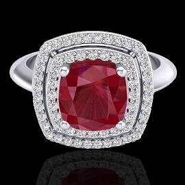 2.52 ctw Ruby & Micro VS/SI Diamond Certified Pave Ring