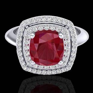 .52 ctw Ruby & Micro VS/SI Diamond Certified Pave Ring