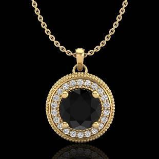 1.25 ctw Fancy Black Diamond Art Deco Stud Necklace 18k