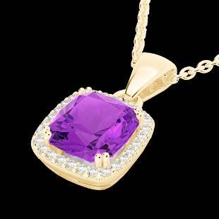 3 ctw Amethyst & Micro VS/SI Diamond Pave Necklace 18K