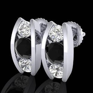 2.18 ctw Fancy Black Diamond Art Deco Stud Earrings 18k