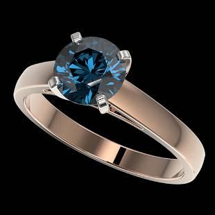 1.50 ctw Certified Intense Blue Diamond Engagment Ring