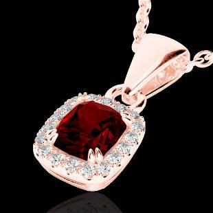 1.25 ctw Garnet & Micro Pave VS/SI Diamond Necklace 10K