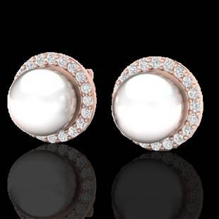 .50 ctw Micro Pave VS/SI Diamond & Pearl Earrings 14K