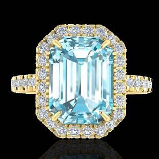6.03 ctw Sky Blue Topaz & Micro Pave VS/SI Diamond Ring