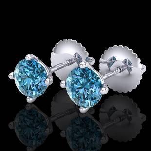 1.01 ctw Fancy Intense Blue Diamond Art Deco Earrings