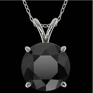 2.50 ctw Fancy Black Diamond Solitaire Necklace 10k