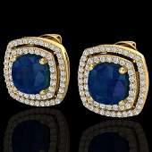 4.95 ctw Sapphire & Micro Pave VS/SI Diamond Earrings