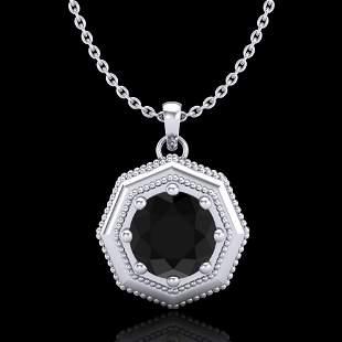 0.75 ctw Fancy Black Diamond Art Deco Stud Necklace 18K