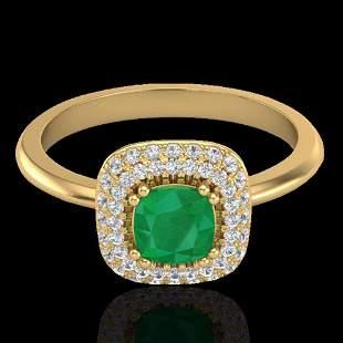 1.16 ctw Emerald & Micro VS/SI Diamond Ring Halo 18k