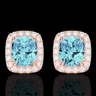 2.50 ctw Sky Blue Topaz & Micro VS/SI Diamond Earrings
