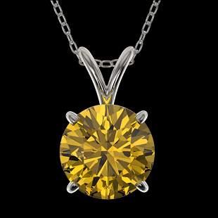 1.53 ctw Certified Intense Yellow Diamond Necklace 10k