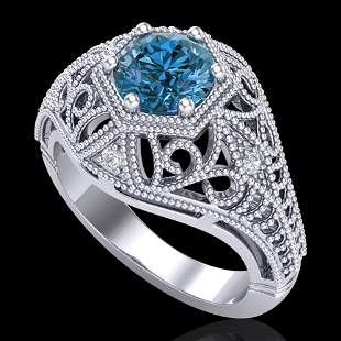 1.07 ctw Fancy Intense Blue Diamond Art Deco Ring 18k