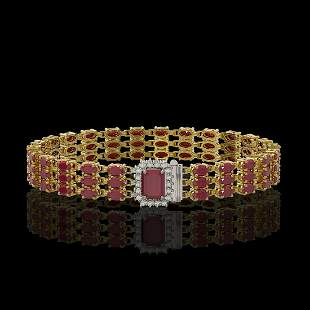 28.74 ctw Ruby & Diamond Bracelet 14K Yellow Gold -