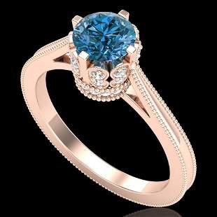 1.14 ctw Fancy Intense Blue Diamond Art Deco Ring 18k