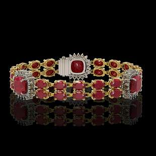 21.83 ctw Ruby & Diamond Bracelet 14K Yellow Gold -