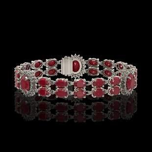 20.99 ctw Ruby & Diamond Bracelet 14K White Gold -