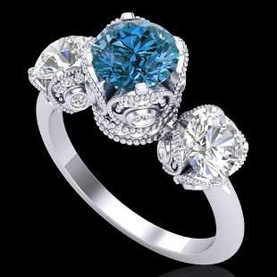 3 ctw Fancy Intense Blue Diamond Art Deco Ring 18k