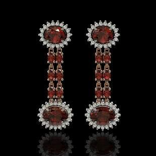8.87 ctw Garnet & Diamond Earrings 14K Rose Gold -