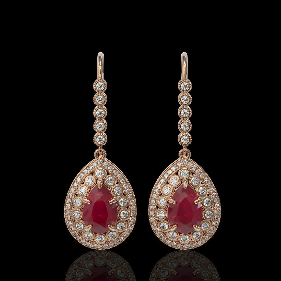 10.15 ctw Certified Ruby & Diamond Victorian Earrings