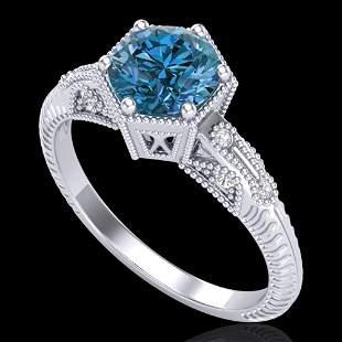 1.17 ctw Fancy Intense Blue Diamond Art Deco Ring 18k