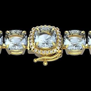 350 ctw Sky Blue Topaz & Micro VS/SI Diamond Bracelet