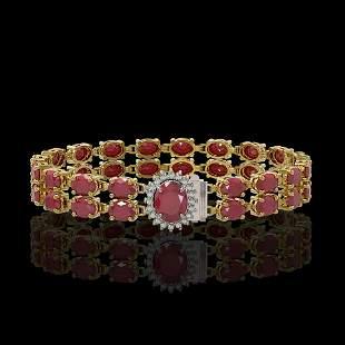 19.57 ctw Ruby & Diamond Bracelet 14K Yellow Gold -