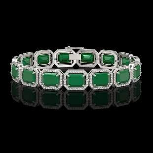38.61 ctw Emerald & Diamond Micro Pave Halo Bracelet