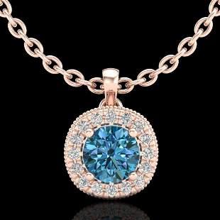1.1 ctw Fancy Intense Blue Diamond Art Deco Necklace