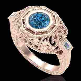 1.13 ctw Fancy Intense Blue Diamond Art Deco Ring 18k