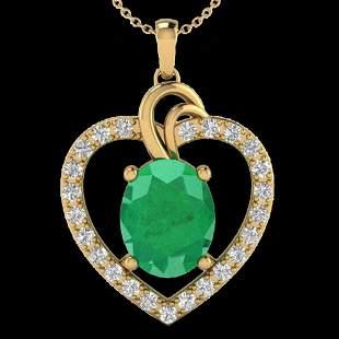4 ctw Emerald & VS/SI Diamond Designer Heart Necklace