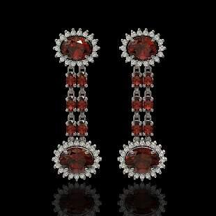 8.87 ctw Garnet & Diamond Earrings 14K White Gold -