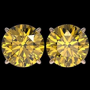 5 ctw Certified Intense Yellow Diamond Stud Earrings