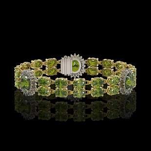 17.79 ctw Tourmaline & Diamond Bracelet 14K Yellow Gold