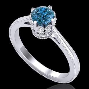 0.81 ctw Fancy Intense Blue Diamond Art Deco Ring 18k