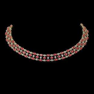 56.93 ctw Tourmaline & Diamond Necklace 10K Yellow Gold