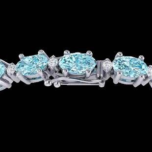 4 ctw Sky Blue Topaz & VS/SI Diamond Eternity Bracelet