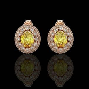 7.24 ctw Canary Citrine & Diamond Victorian Earrings